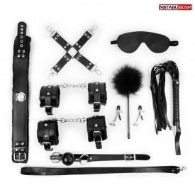 Большой набор БДСМ в черном цвете: маска, кляп, зажимы, плётка, ошейник, наручники, оковы, щекоталка, фиксатор