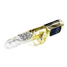Золотистый вибратор Gold Rabbit Prince с ротацией - 21,5 см.